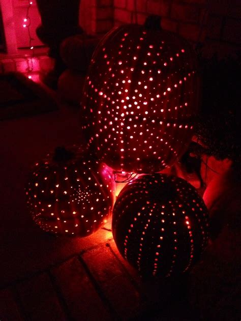 drilled holes  pumpkins   twinkle lights  halloween party decor