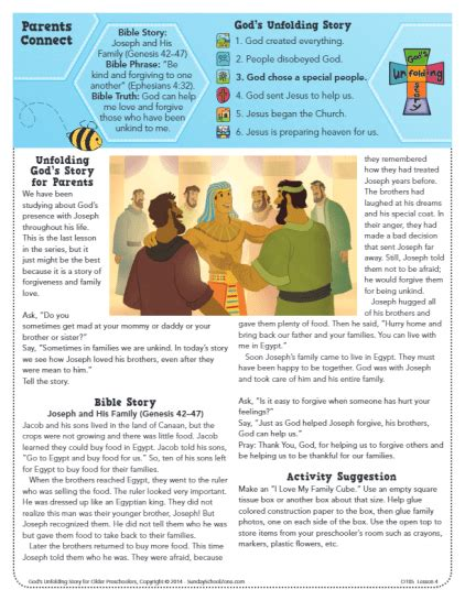 Joseph And His Family Bible Activities On Sunday School Zone