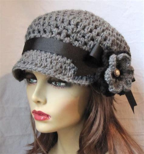 womens hat newsboy gray crochet black pearl flower ribbon