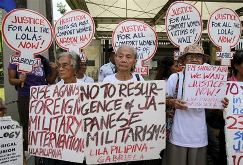 philippines comfort women philippine comfort women fear china sea dispute blocks