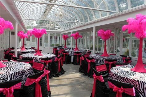 Beautiful zebra & hot pink party   love the centerpieces