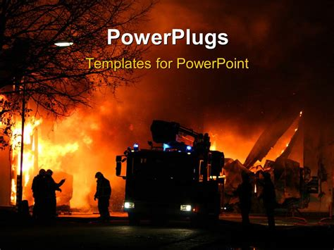 powerpoint themes free download fire powerpoint template firemen at work during a major fire