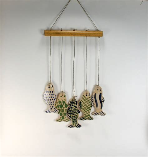 Handmade Chimes - 5 blue and green fish handmade stoneware wind chimes