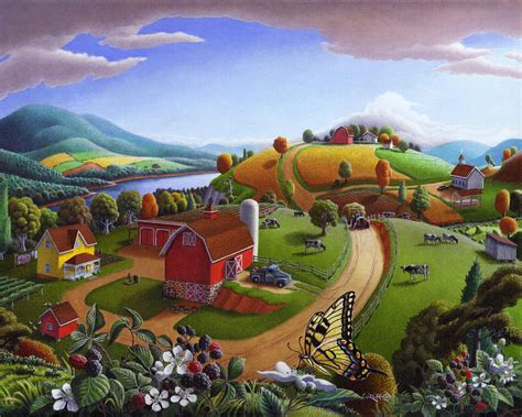 folk art blackberry patch rural country farm landscape