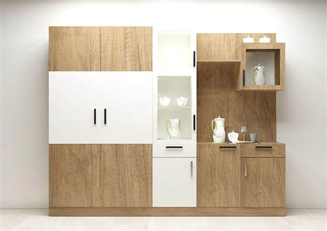wooden finish wall unit combinations from h 252 lsta modular crockery unit with plywood and laminate finish