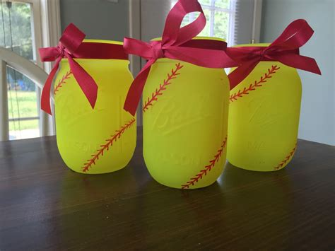 softball jars painted jars softball decor