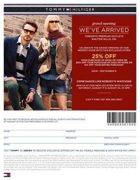 printable coupons outlet stores tommy hilfiger tommy hilfiger coupon 25 off purchase halton hills on