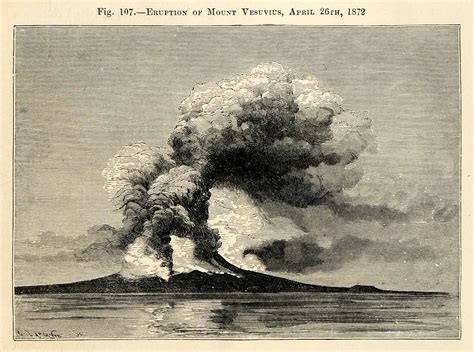 the eruption of vesuvius in 1872 classic reprint books 1882 wood engraving eruption mount vesuvius volcano gulf