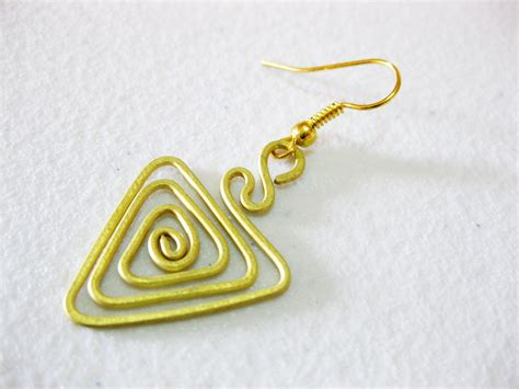 Handmade Jewelry Thailand - brass dangle earrings triangle fashion designs handmade