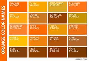 Names Of Orange Colors by List Of Colors With Color Names Graf1x Com