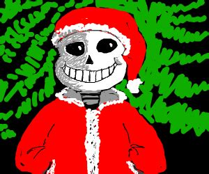 skeleton wearing  santa hat drawception