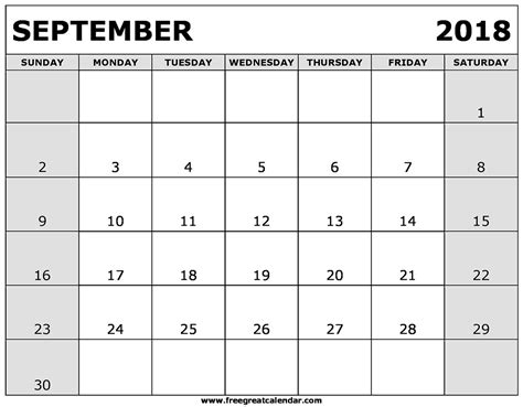 printable calendar 2018 september september 2018 calendar pdf yearly printable calendar
