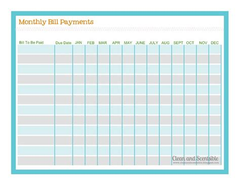 payment list template free bill payment checklist p r i n t a b l e s