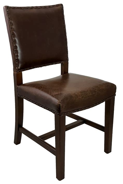 Dining Room Chair Leather Quot Antique Brown Leather Dining Room Chair Quot