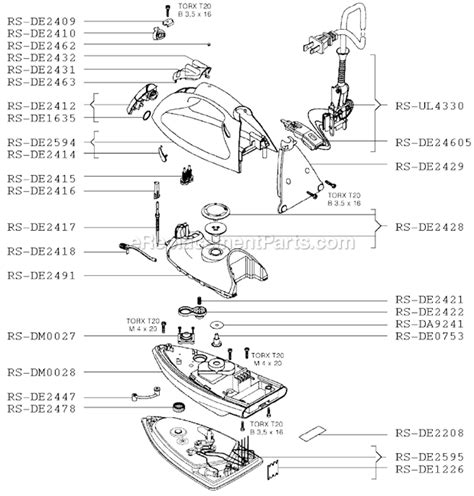rowenta iron parts diagram rowenta de630 parts list and diagram ereplacementparts
