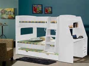 olympic white wooden bunk beds with large desk storage and