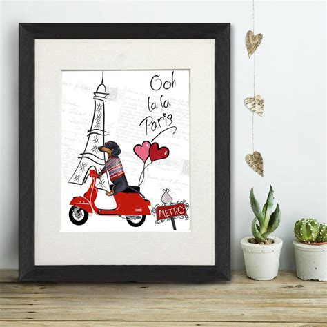 dachshund print dachshund queen by fabfunky home decor dachshund in paris valentines gift print by fabfunky home