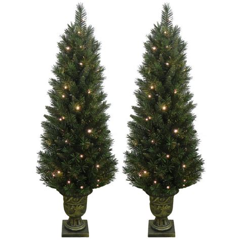 2 x festive pre lit pathway artificial pine christmas tree