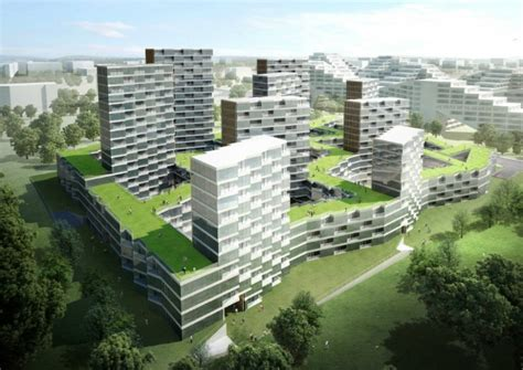 housing complex design nine dragons housing complex is a green roofed residential maze in china inhabitat