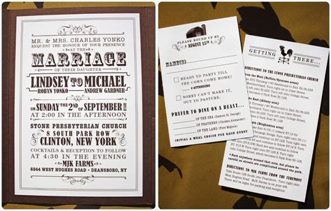 Farm Theme Wedding Invitations by Brown Farm Themed Vintage Poster Style Pocketfold