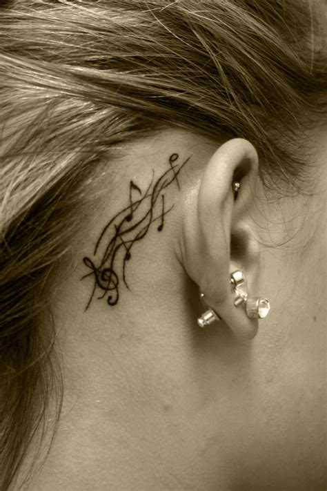 music note tattoo behind ear hannikate real notes tattoos