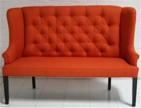 high back dining settee quot florence quot dining love seat orange tufted high back sofa
