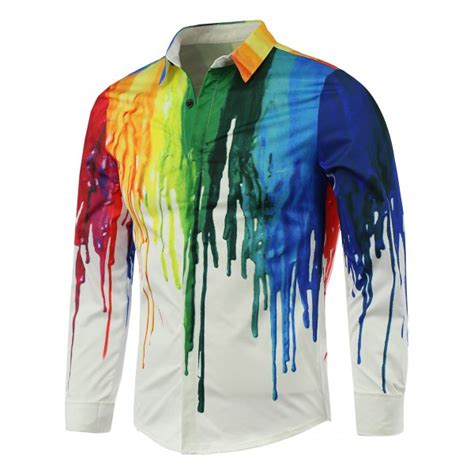 colorful shirts wholesale colorful paint print covered button