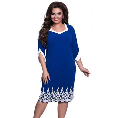 Office Dress Big Size 2017 summer style plus size office big large size dress casual dresses 6xl lace patchwork