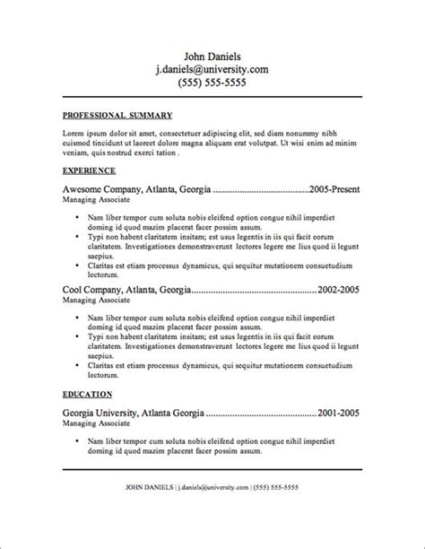 traditional resume template doc 700982 traditional resume sle bizdoska