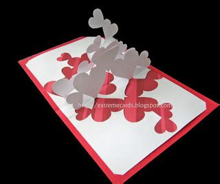 blue pop up card templates pile of hearts pop up card