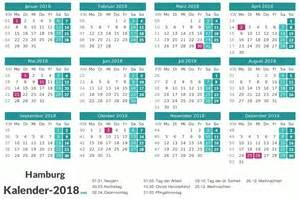 Kalender 2018 Schulferien Hamburg Kalender 2018 Hamburg