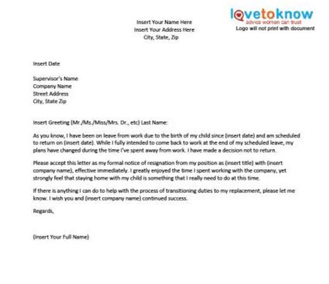 letter maternity leave template template for a resignation letter after maternity leave