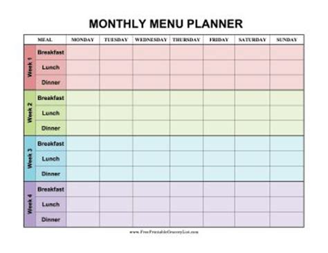 monthly meal planner template 25 best ideas about monthly menu on monthly