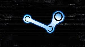 blue steam logo on black steam wallpaper