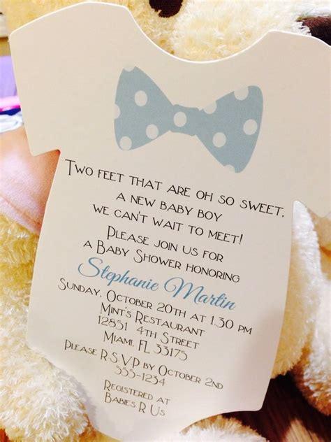Handmade Boy Baby Shower Invitations - baby boy bow tie onesie baby shower invitation all
