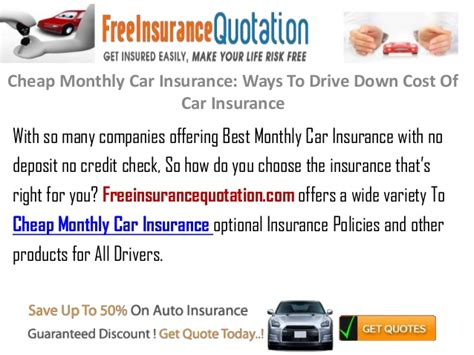 Monthly Car Insurance by Cheap Monthly Car Insurance Ways To Drive Cost Of