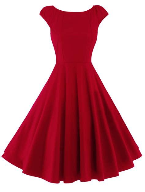 2018 A Line Puffer Cap Sleep Plain Dress RED M In Vintage Dresses Online Store. Best Tea Length