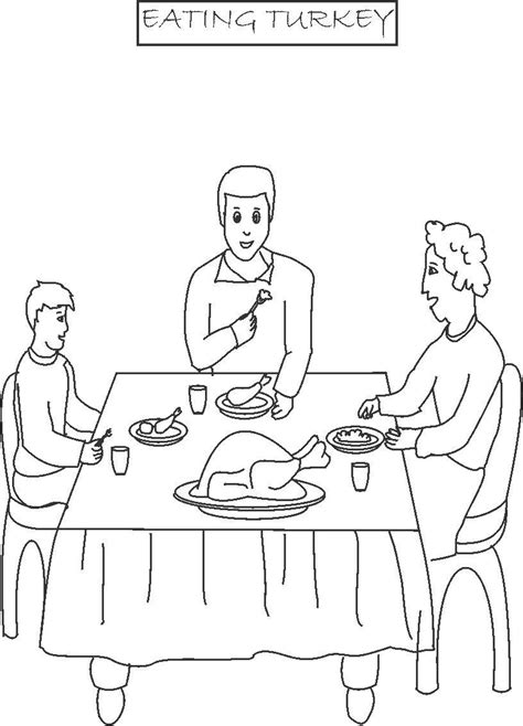 coloring pages of a family eating eating turkey printable coloring page