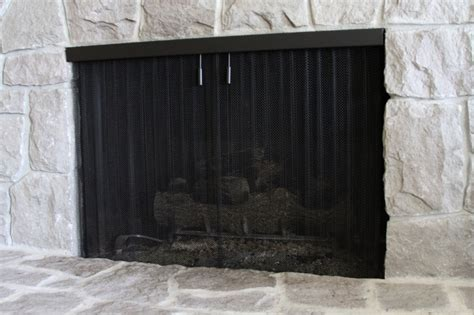 fireplace screen curtain custom recessed firescreens cascade coil