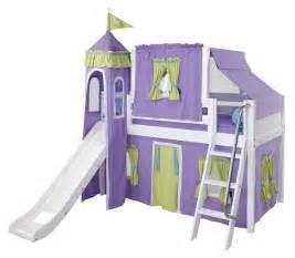 Maxtrix princess castle bed w slide amp ang ladder purple green light