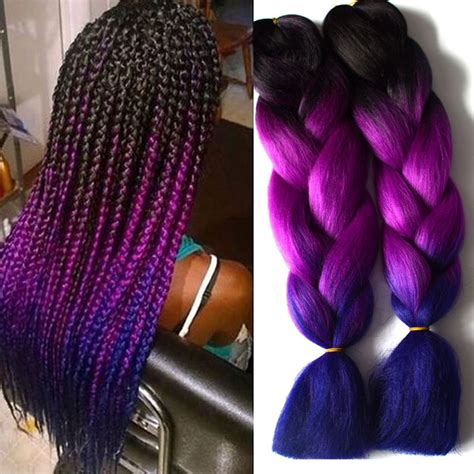 purple ombre braiding hair blue ombre kanekalon braiding hair 1 10pcs ombre three