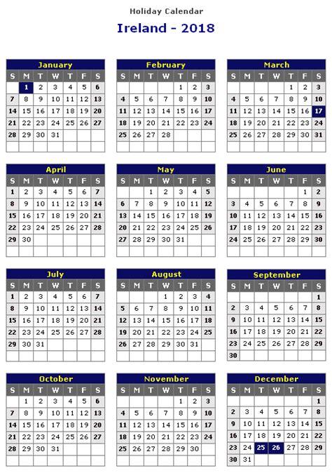 printable calendar ireland 2018 fresh holiday calendar ireland 2018 calendar