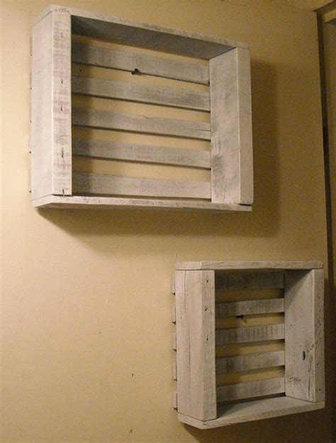 White Wooden Wall Shelves Antique White Wooden Crates Wall Display Shelves