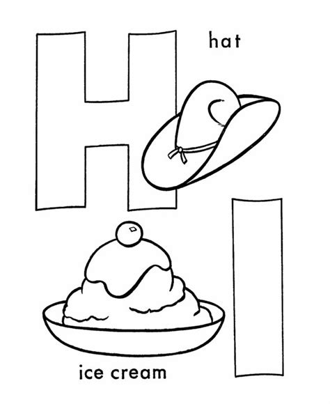 dltk ice cream coloring pages abc coloring sheet letter h i is for hat and ice cream
