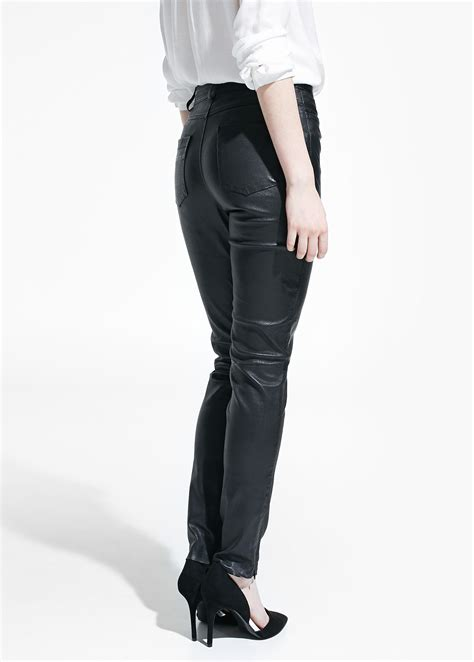 high waisted leather mango high waist leather trousers in black lyst