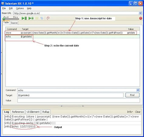 javascript date format get month name selenium ide get current system date using java script in