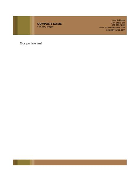 free letterhead design in word format 7 best images of