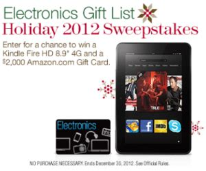 Amazon Electronics Gift Card - amazon com electronics gift list holiday 2012 sweepstakes win a kindle fire hd a