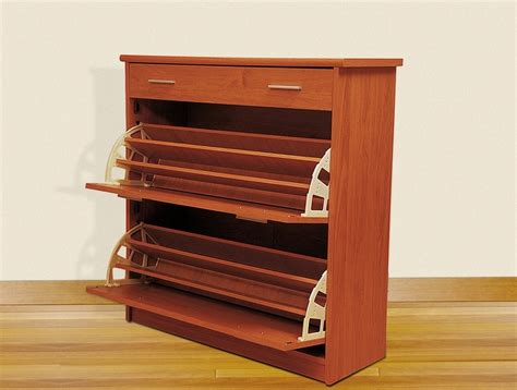 closed wooden shoe rack with 2 drawer stand design ideas