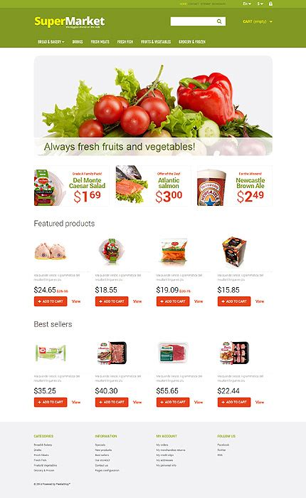 Kit Graphique Prestashop Template 48039 Prestashop Food Market Ecommerce Grocery Website Templates